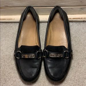 Coach leather silver loafers flats